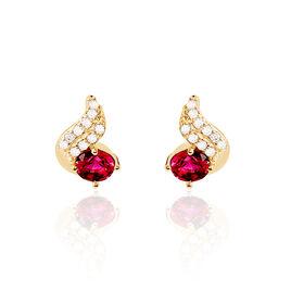 Boucles D'oreilles Puces Tyana Plaque Or Jaune Oxyde De Zirconium - Boucles d'oreilles fantaisie Femme | Histoire d'Or