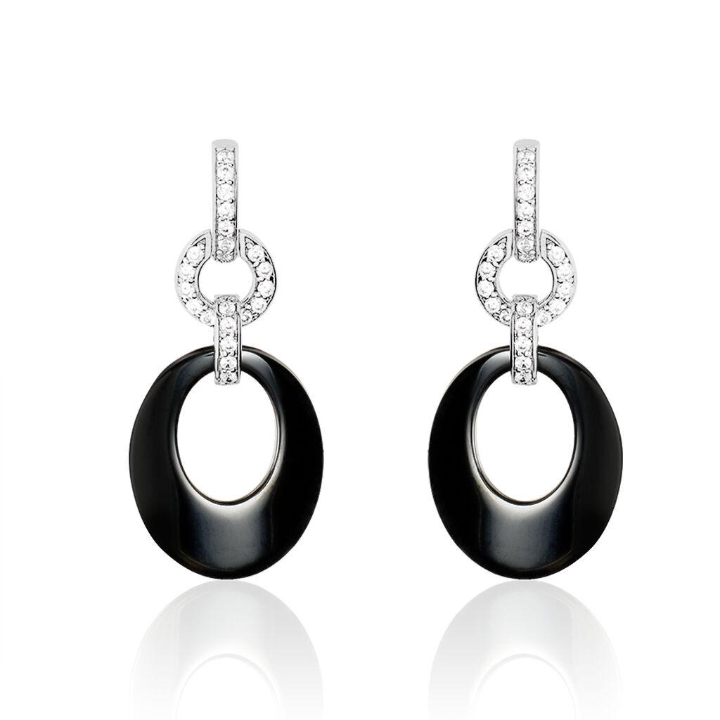 Boucles D'oreilles Pendantes Argent Céramique Et Oxyde De Zirconium - Boucles d'oreilles pendantes Femme | Histoire d'Or