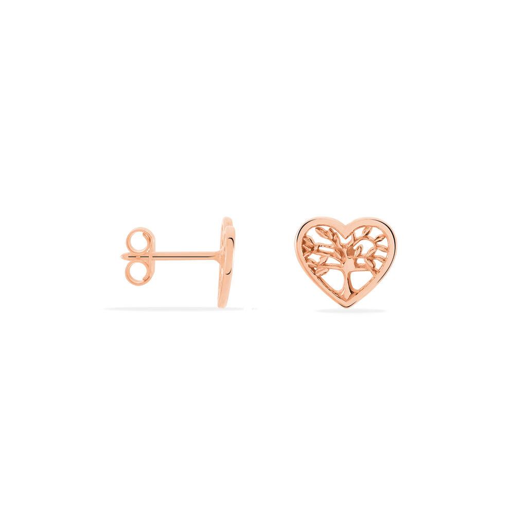Boucles D'oreilles Pendantes Elwenn Argent Rose - Boucles d'Oreilles Arbre de vie Femme | Histoire d'Or