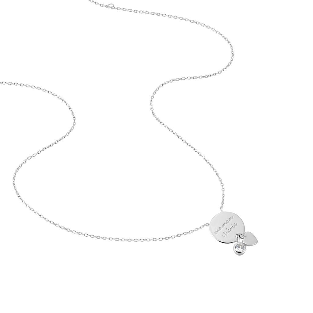 Collier Loli Argent Blanc Oxyde De Zirconium - Colliers Coeur Femme   Histoire d'Or