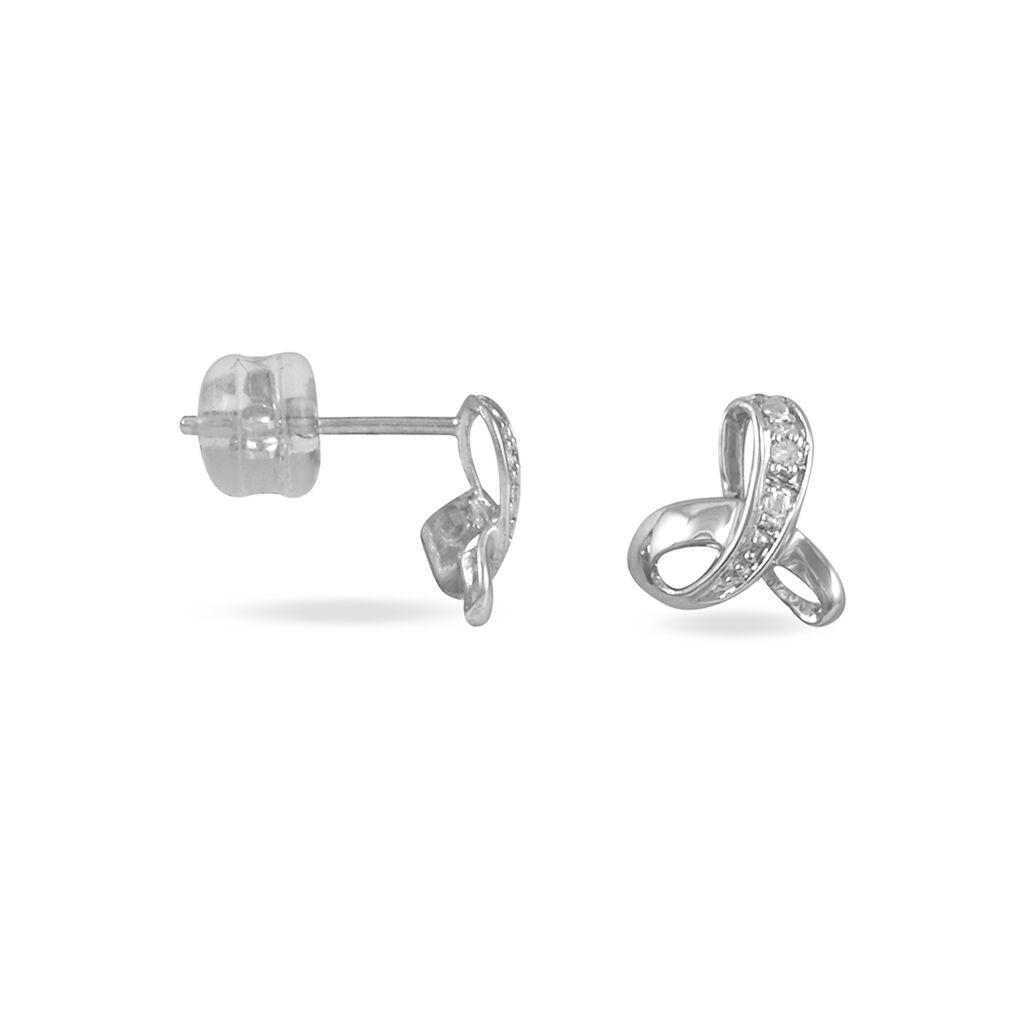 Boucles D'oreilles Puces Volute Or Blanc Diamant - Clous d'oreilles Femme | Histoire d'Or