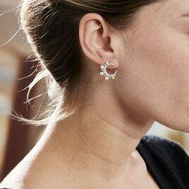 Boucles D'oreilles Puces Moon Argent Perle D'imitation Et Oxyde - Boucles d'Oreilles Lune Femme | Histoire d'Or