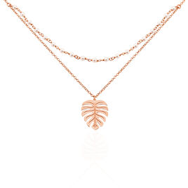 Collier Argent Rose Zoella Feuille Tropicale - Colliers Plume Femme | Histoire d'Or