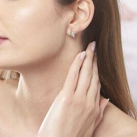 Boucles D'oreilles Puces Sagesse Or Jaune Emeraude Et Diamant - Clous d'oreilles Femme | Histoire d'Or