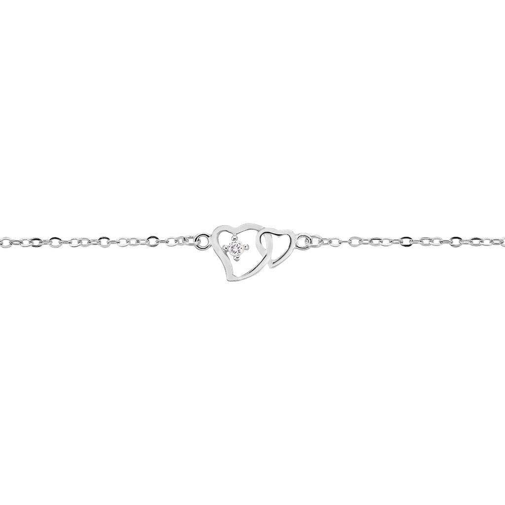 Bracelet Roma Argent Blanc Oxyde De Zirconium - Bracelets Coeur Femme   Histoire d'Or