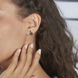 Boucles D'oreilles Puces Muses Argent Rhodie Oxydes De Zirconium - Boucles d'oreilles fantaisie Femme   Histoire d'Or