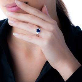 Bague Lea Or Blanc Saphir Et Diamant - Bagues avec pierre Femme   Histoire d'Or