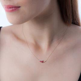 Collier Petale Or Bicolore Rubis Et Diamant - Bijoux Femme | Histoire d'Or