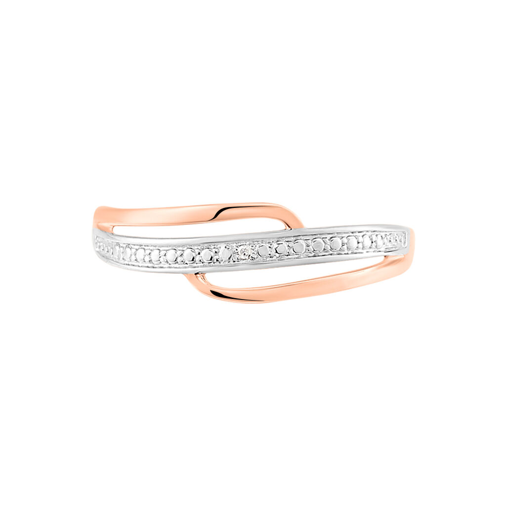 Bague Solena Or Rose Diamant - Bagues avec pierre Femme   Histoire d'Or