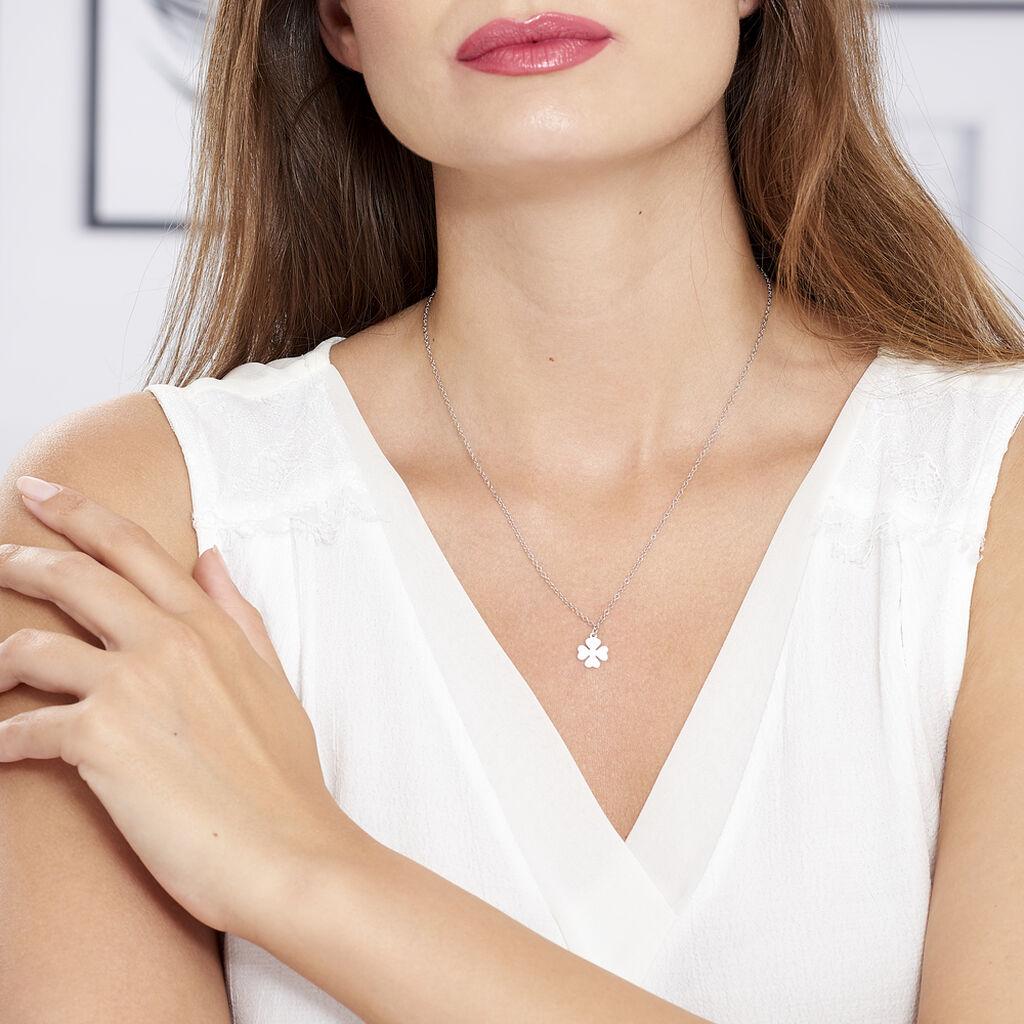 Collier Naomie Argent Blanc - Colliers Trèfle Femme   Histoire d'Or