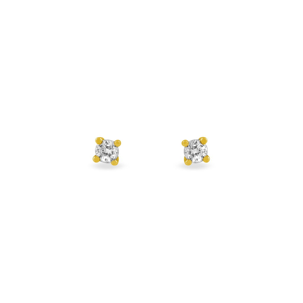 Boucles D'oreilles Puces Clavie Or Jaune Diamant