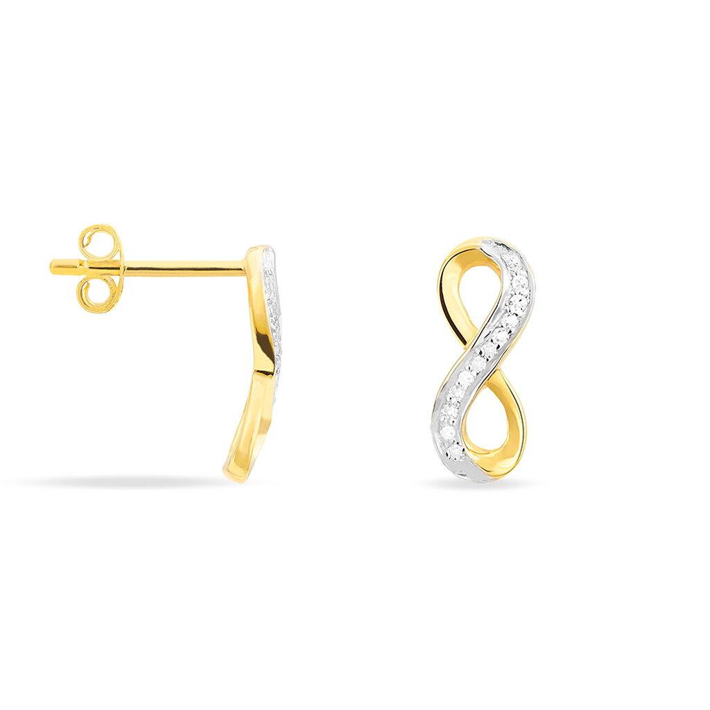 Boucles D'oreilles Puces Chacha Or Jaune Diamant - Boucles d'Oreilles Infini Femme   Histoire d'Or