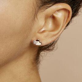 Boucles D'oreilles Puces Flamen Argent Rose Oxyde De Zirconium - Boucles d'Oreilles Coeur Femme | Histoire d'Or