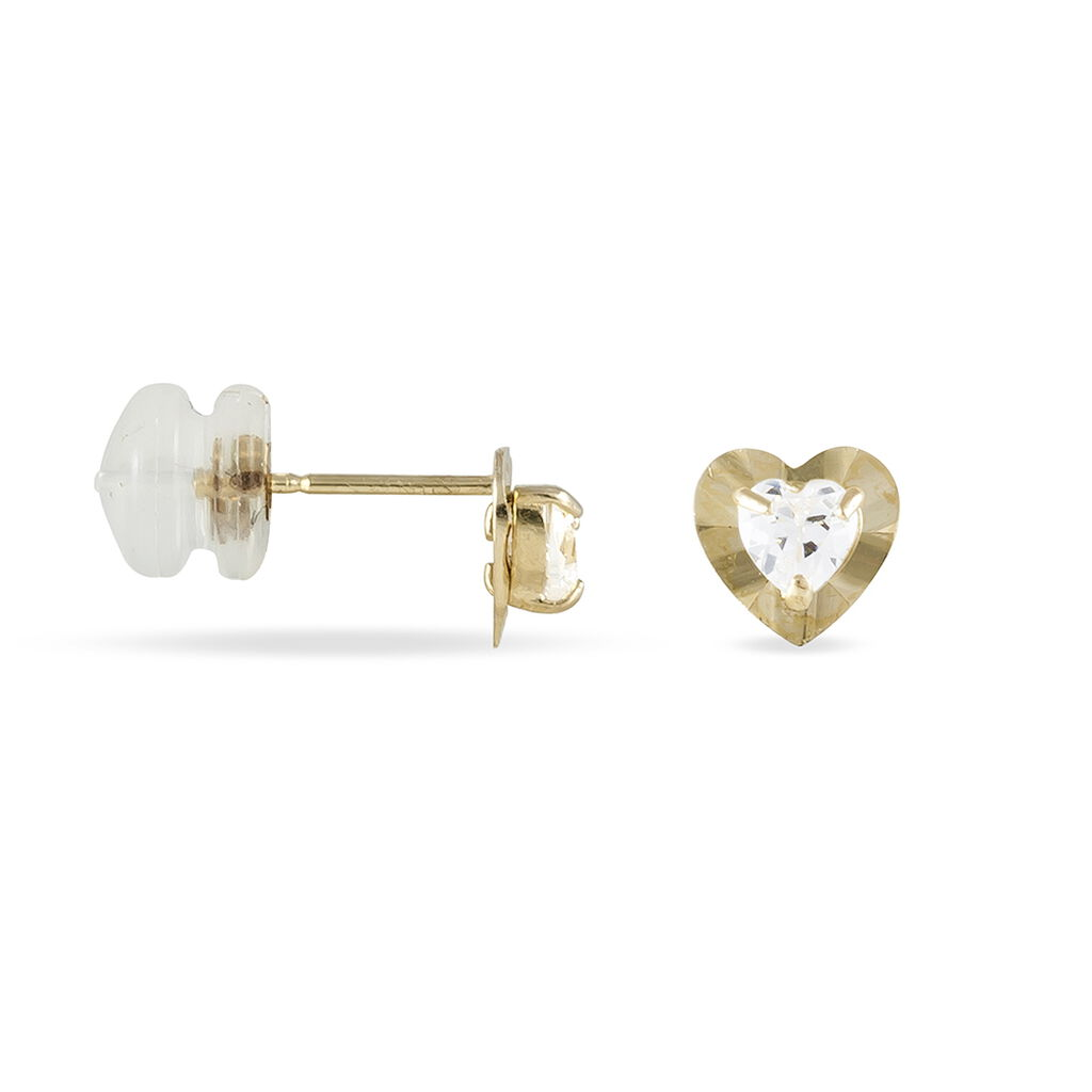 Boucles D'oreilles Puces Louba Or Jaune Oxyde De Zirconium - Boucles d'Oreilles Coeur Femme | Histoire d'Or