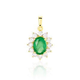 Pendentif Vladimir Or Jaune Emeraude Et Diamant - Pendentifs Femme   Histoire d'Or