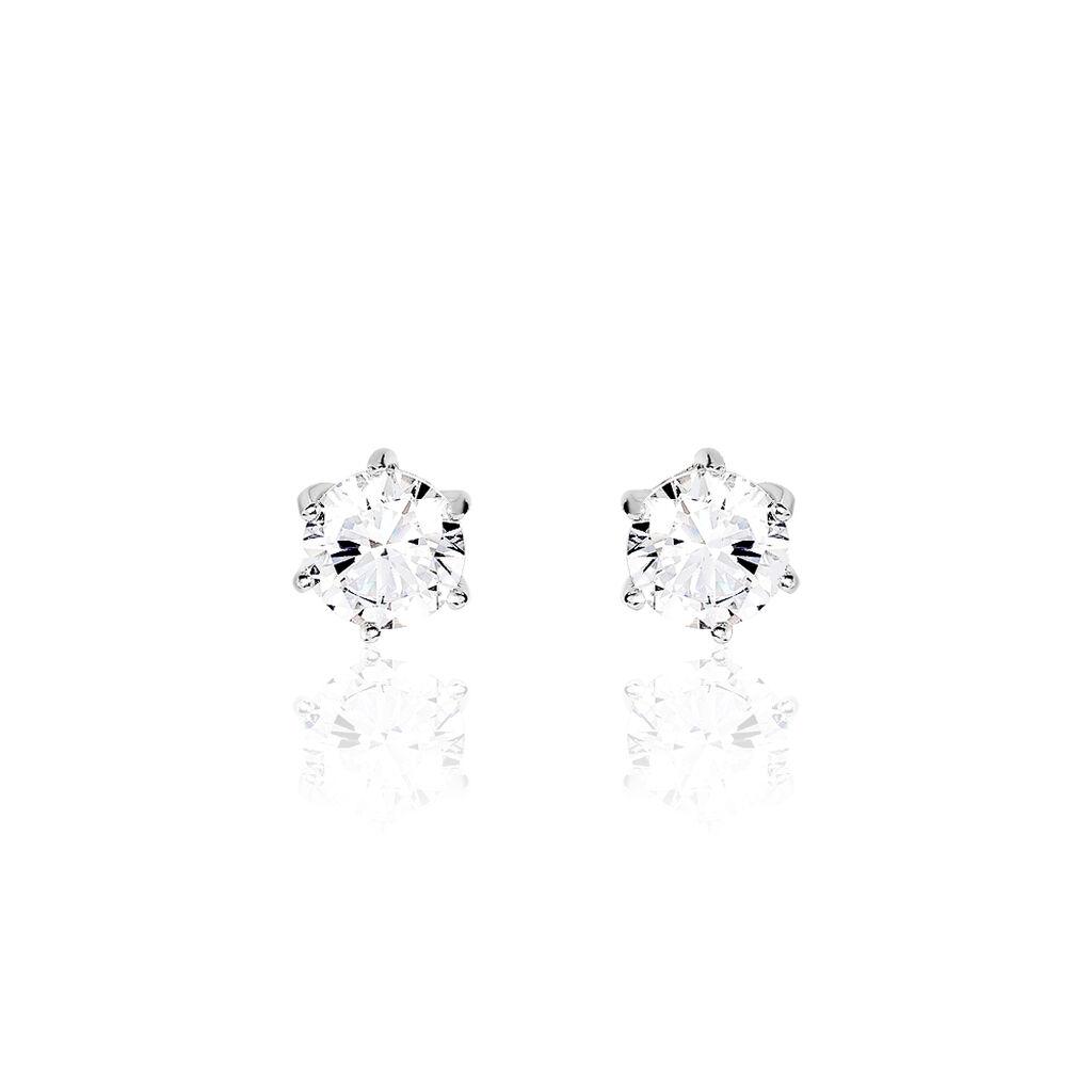 Boucles D'oreilles Puces Kylianna Argent Blanc Oxyde De Zirconium - Boucles d'oreilles fantaisie Femme | Histoire d'Or