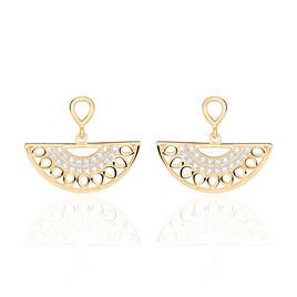 Boucles D'oreilles Pendantes Solena Plaque Or Jaune Oxyde De Zirconium - Boucles d'oreilles fantaisie Femme | Histoire d'Or
