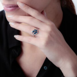 Bague Orchidee Or Blanc Saphir Diamant - Bagues avec pierre Femme   Histoire d'Or