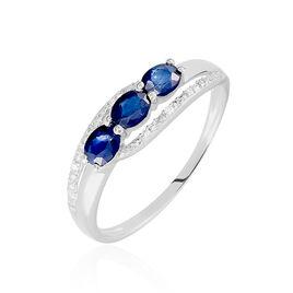 Bague Comete Or Blanc Saphir Et Diamant - Bagues avec pierre Femme | Histoire d'Or
