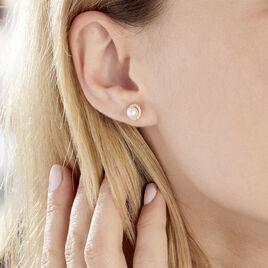 Boucles D'oreilles Or Jaune Grizel Perle De Culture Oxyde - Clous d'oreilles Femme | Histoire d'Or
