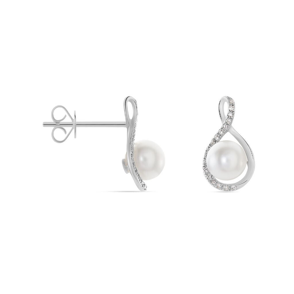 Boucles D'oreilles Puces Davy Or Blanc Perle De Culture Et Diamant - Clous d'oreilles Femme | Histoire d'Or