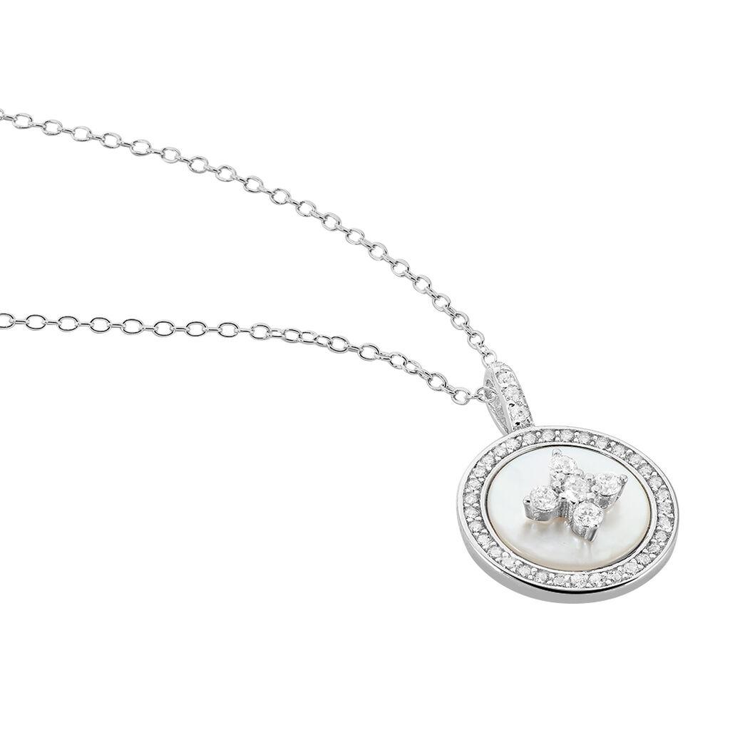 Collier Pelina Argent Blanc Oxyde De Zirconium Nacre - Colliers Trèfle Femme   Histoire d'Or