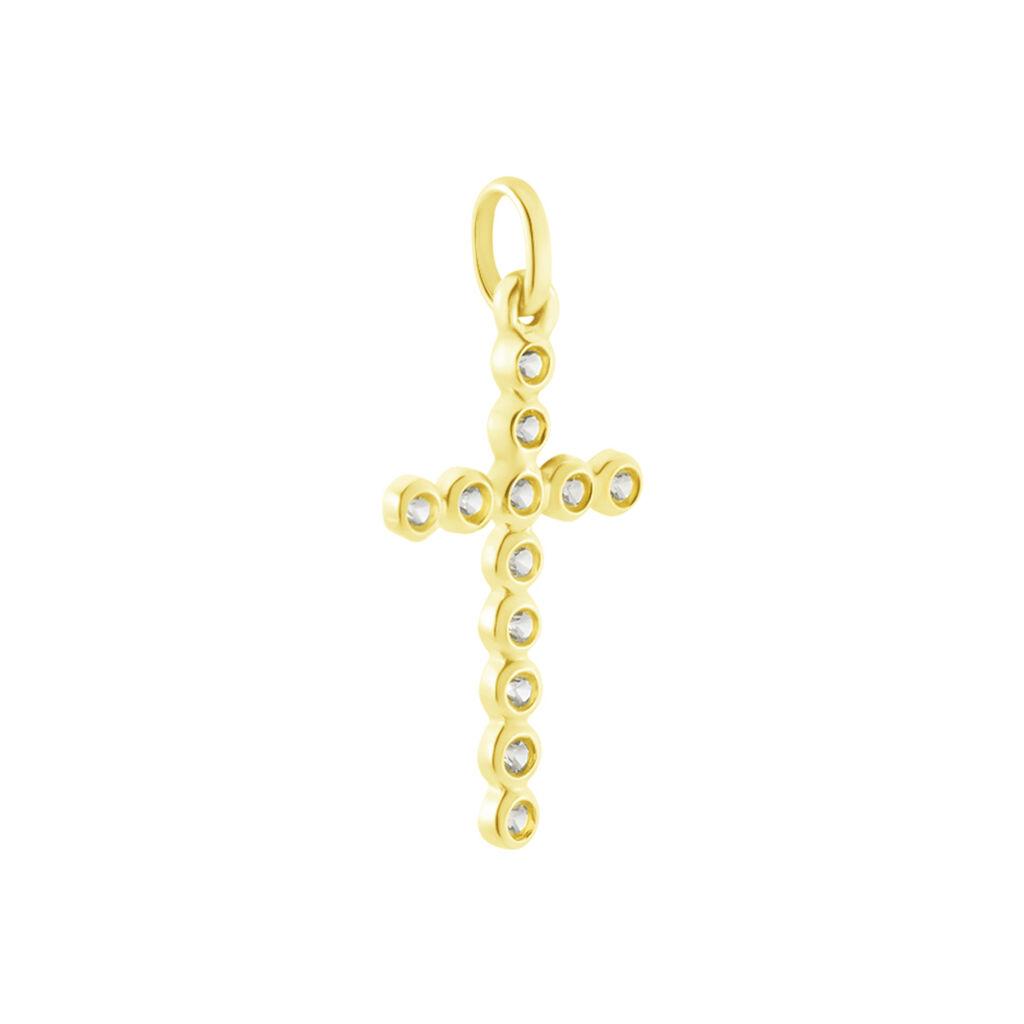 Pendentif Canice Croix Or Jaune Oxyde De Zirconium - Pendentifs Croix Femme | Histoire d'Or