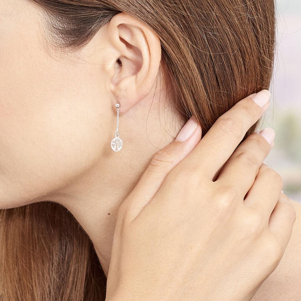 Boucles D'oreilles Pendantes Audrey-rose Argent Blanc - Boucles d'Oreilles Arbre de vie Femme   Histoire d'Or