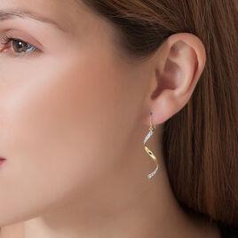 Boucles D'oreilles Pendantes Celenia Or Jaune Strass - Boucles d'oreilles pendantes Femme | Histoire d'Or