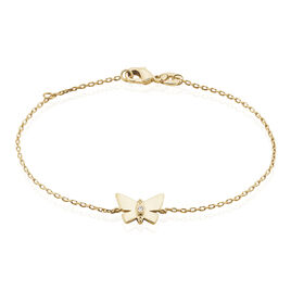 Bracelet Lili Plaque Or Jaune Oxyde De Zirconium - Bracelets Papillon Femme   Histoire d'Or