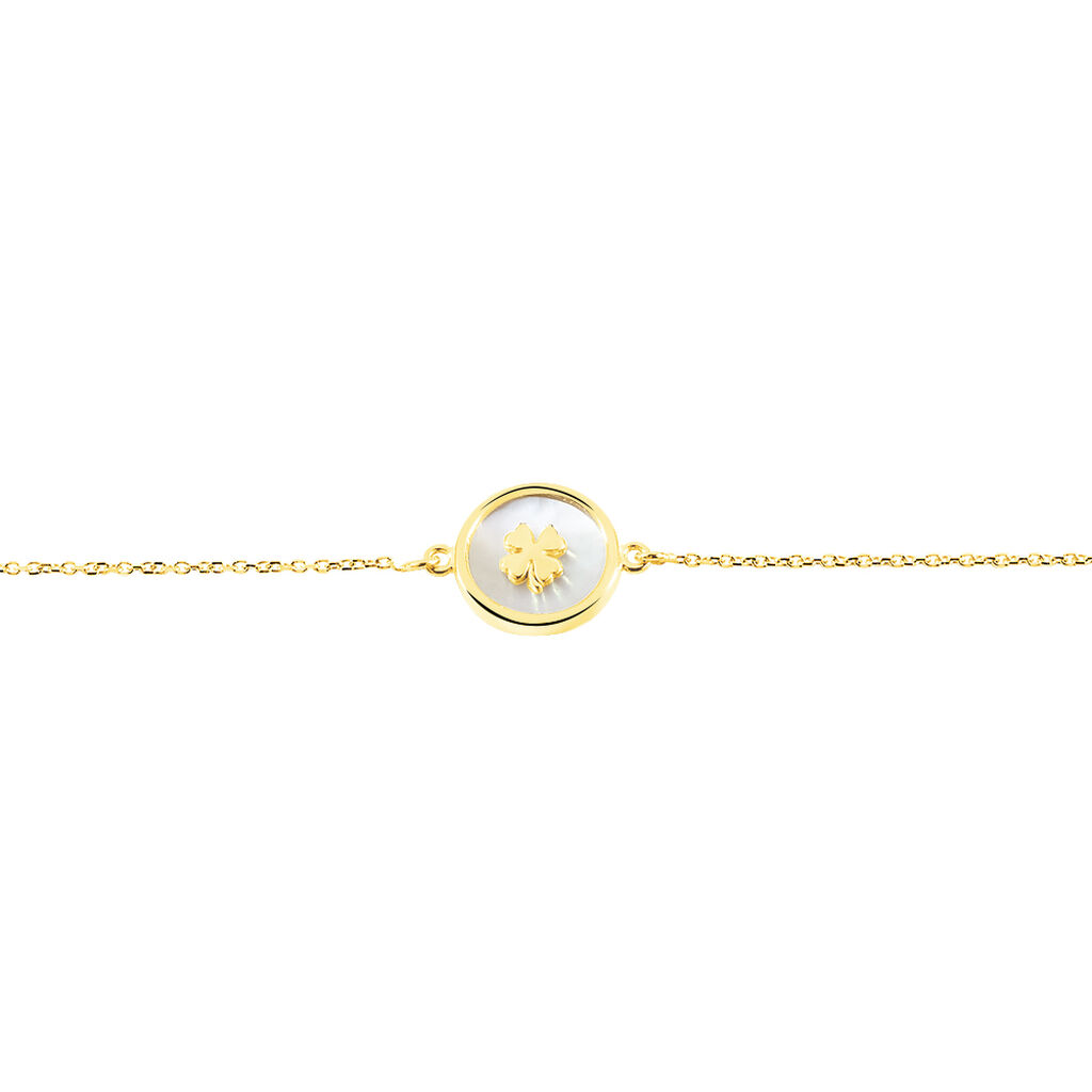 Bracelet Micarla Trefle Or Jaune Nacre - Bracelets Naissance Enfant   Histoire d'Or