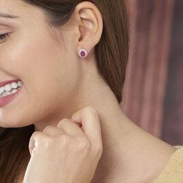Boucles D'oreilles Puces Vladimir Or Jaune Diamant Et Rubis - Clous d'oreilles Femme | Histoire d'Or