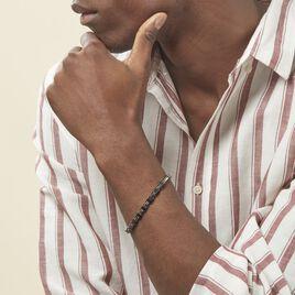 Bracelet Ajustable Acier Gris Et Noir Jaki - Bracelets fantaisie Homme   Histoire d'Or