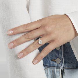 Bague Mentoura Or Blanc Diamant Synthétique - Bagues solitaires Femme   Histoire d'Or