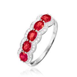 Bague Margaux Or Blanc Rubis Et Diamant - Bagues avec pierre Femme | Histoire d'Or
