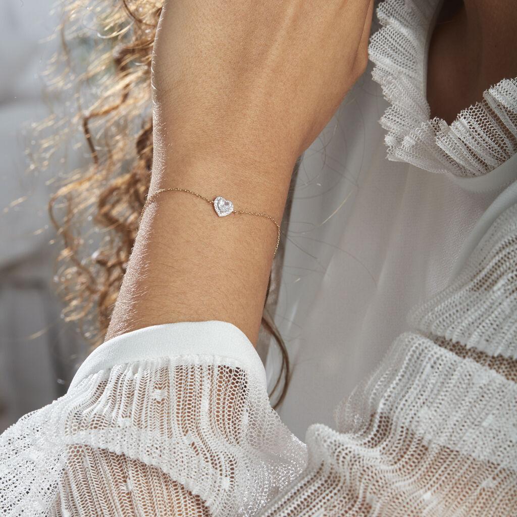 Bracelet Dari Or Blanc Oxyde De Zirconium - Bracelets Coeur Femme | Histoire d'Or