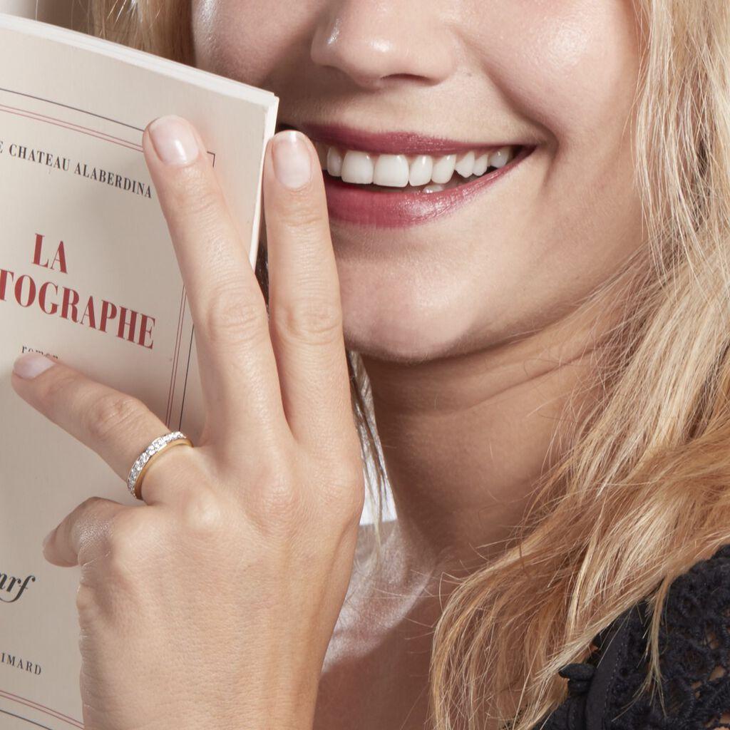 Demi-alliance Or Jaune Valentine Diamants Synthetique - Alliances Femme   Histoire d'Or