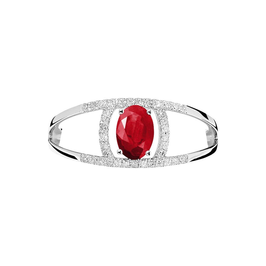 Bague Or Blanc Rubis Et Diamant - Bagues avec pierre Femme | Histoire d'Or