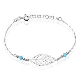 Bracelet Grethel Argent Blanc Turquoise - Bracelets Plume Femme | Histoire d'Or