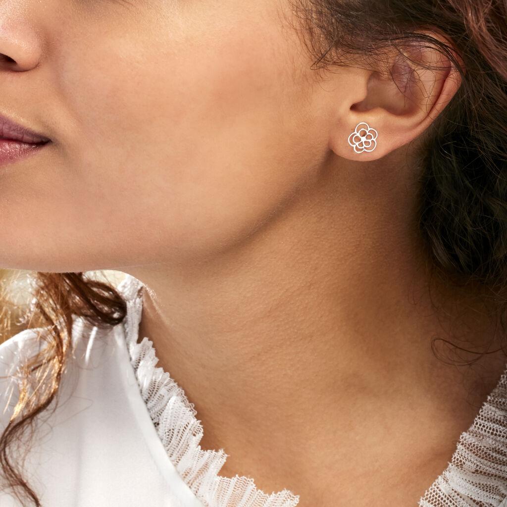 Boucles D'oreilles Puces Paprika Argent Blanc - Boucles d'oreilles fantaisie Femme   Histoire d'Or