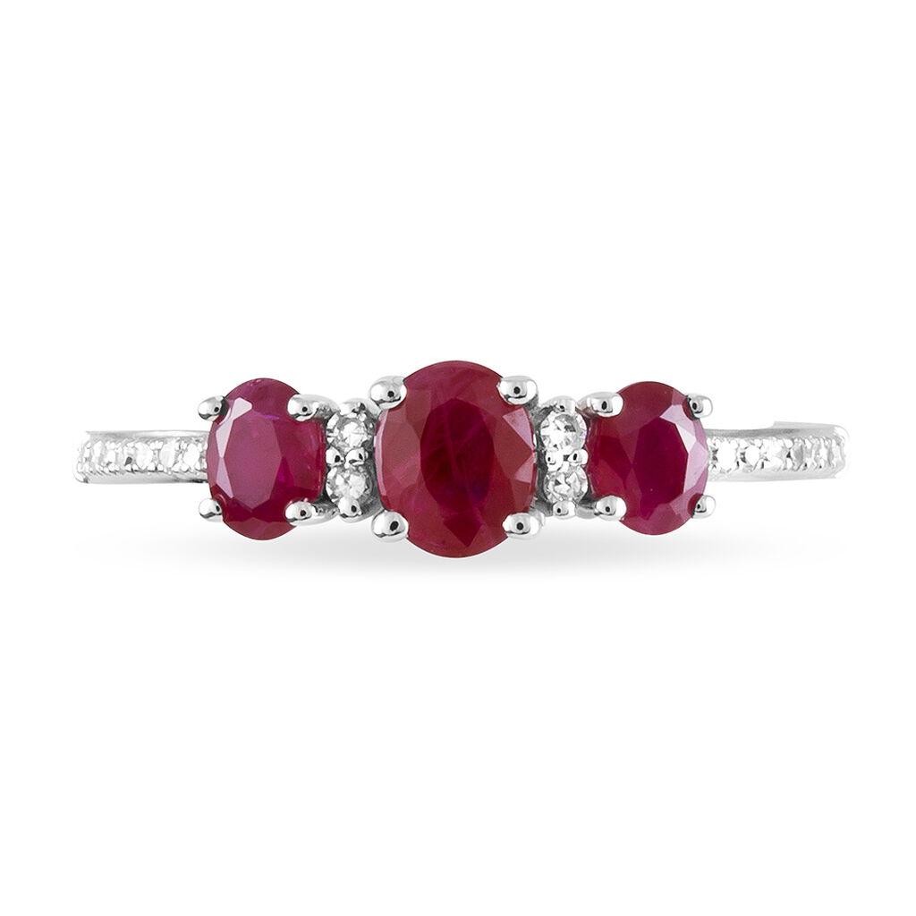 Bague Elbira Or Blanc Rubis Et Diamant - Bagues avec pierre Femme   Histoire d'Or