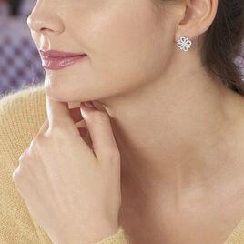 Boucles D'oreilles Puces Katialina Argent Blanc Oxyde De Zirconium - Boucles d'oreilles fantaisie Femme | Histoire d'Or