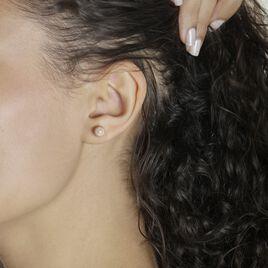 Boucles D'oreilles Puces Fidelia Boule Sablee Or Rose - Clous d'oreilles Femme | Histoire d'Or