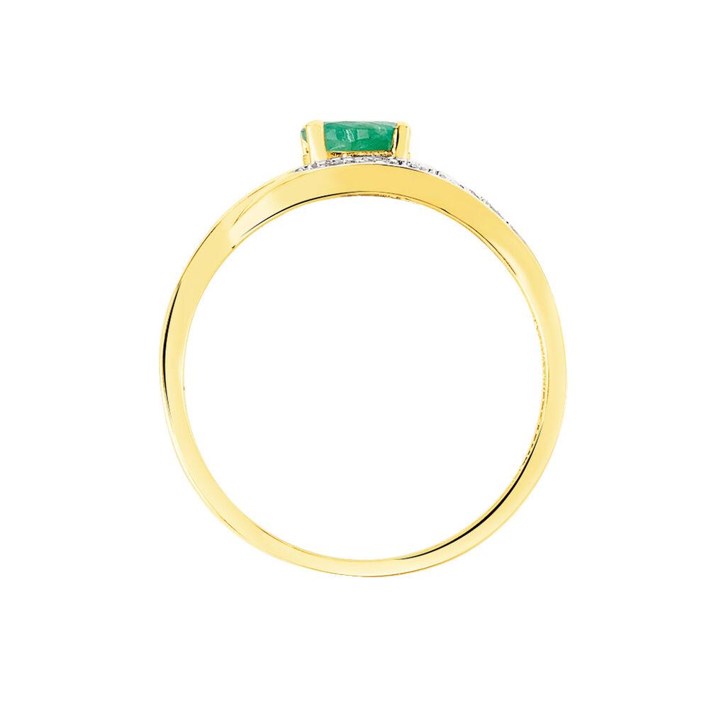 Bague Sagesse Or Jaune Emeraude Et Diamant - Bagues solitaires Femme | Histoire d'Or