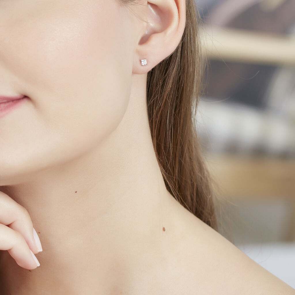 Boucles D'oreilles Puces Carre Argent Blanc Oxyde De Zirconium - Boucles d'oreilles fantaisie Femme | Histoire d'Or