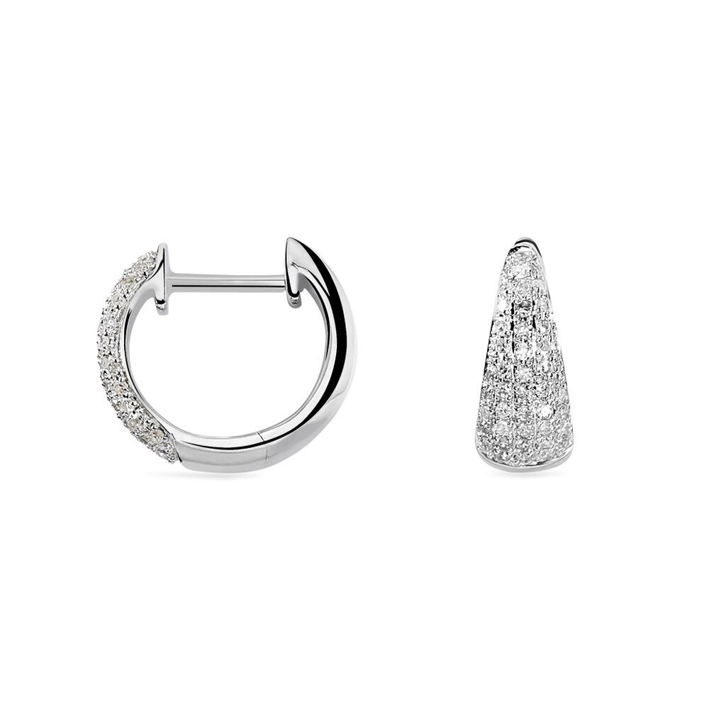 Créoles Arsenie Rondes Or Blanc Diamant - Boucles d'oreilles créoles Femme | Histoire d'Or