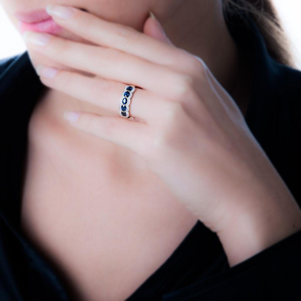 Bague Margaux Or Blanc Grenat Et Diamant - Bagues avec pierre Femme   Histoire d'Or