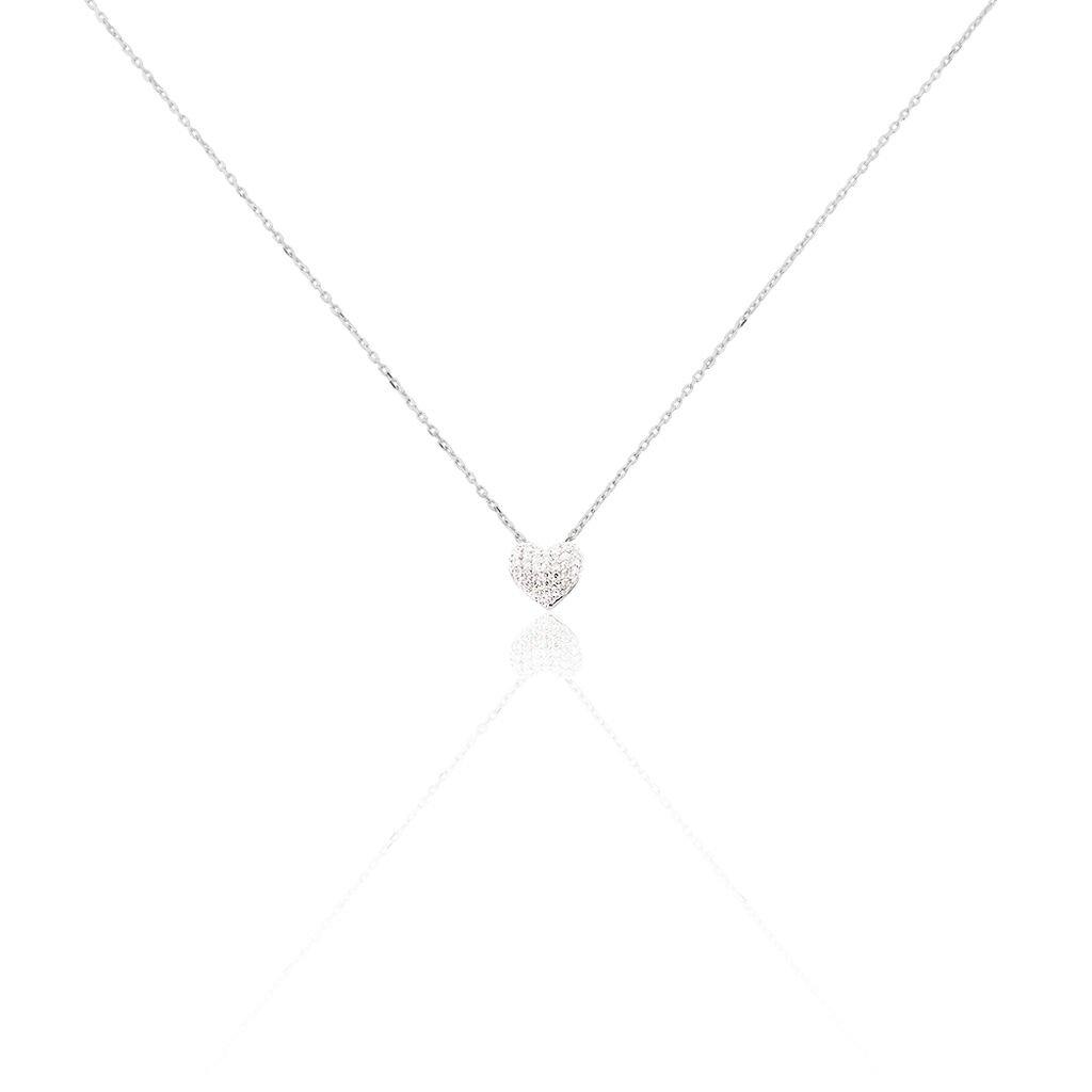 Collier Kamila Or Blanc Diamant - Colliers Coeur Femme   Histoire d'Or