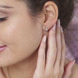 Boucles D'oreilles Puces Eleanor Dauphin Or Jaune Perle De Culture - Clous d'oreilles Femme   Histoire d'Or
