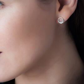Boucles D'oreilles Puces Batoul Or Jaune Diamant - Clous d'oreilles Femme   Histoire d'Or